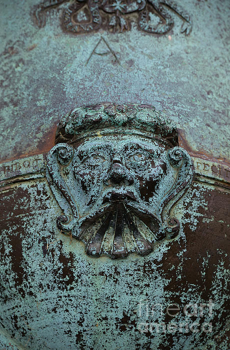 Detail Of A Bronze Mortar Print by Edward Fielding