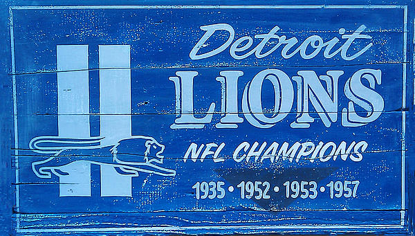 Detroit Lions Sign Print by Bill Cannon