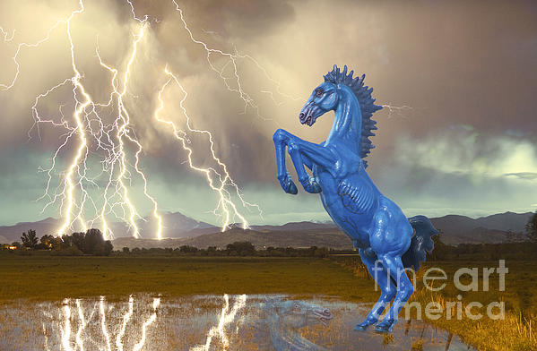 Dia Mustang Bronco Lightning Storm Print by James BO  Insogna