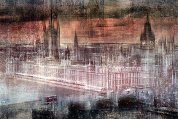 Digital-art London Westminster II Print by Melanie Viola