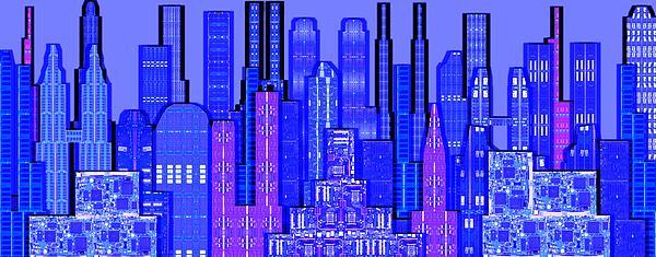 Digital Circuit Board Cityscape 5c - Blue Haze Print by Luis Fournier
