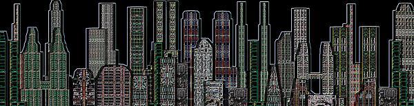 Digital Circuit Board Cityscape 5d - Blacktops Print by Luis Fournier