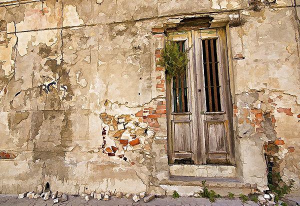 Dilapidated Brown Wood Door Of Portugal II Print by David Letts
