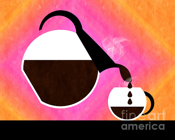 Diner Coffee Pot And Cup Sorbet Pouring Print by Andee Design