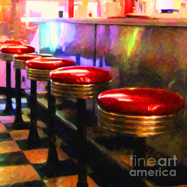 Diner - V2 - Square Print by Wingsdomain Art and Photography