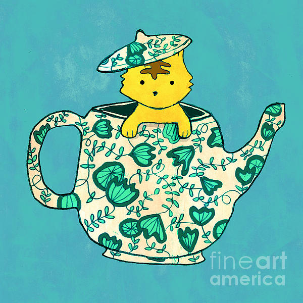 Dinnerware Sets Kitten In A Teapot Print by Budi Kwan