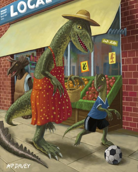 Dinosaur Mum Out Shopping With Son Print by Martin Davey