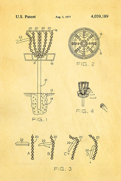 Disc Golf - Frisbee Golf Patent Art 1977 Print by Ian Monk