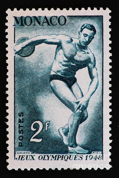 Discus Vintage Postage Stamp Print Print by Andy Prendy