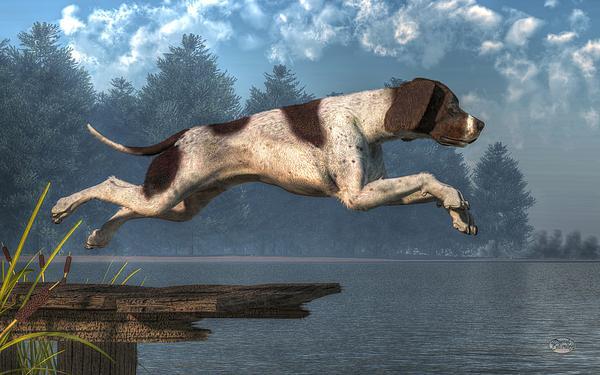 Diving Dog Print by Daniel Eskridge
