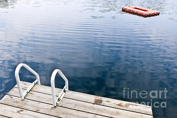 Dock On Calm Summer Lake Print by Elena Elisseeva