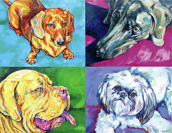 Dog Quartet Print by Derrick Higgins