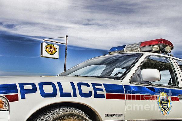Dog River Police Car Print by Nicholas Kokil
