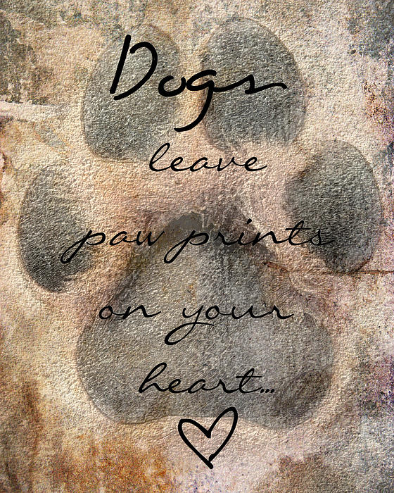Dogs Leave Paw Prints On Your Heart Print by Brook Burling