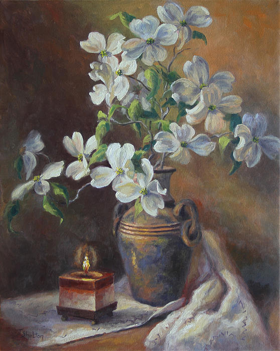 Dogwoods with candle by theresa shelton for Candle painting medium