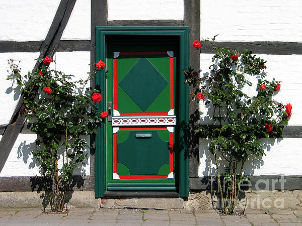 Door With Roses Print by Art Photography