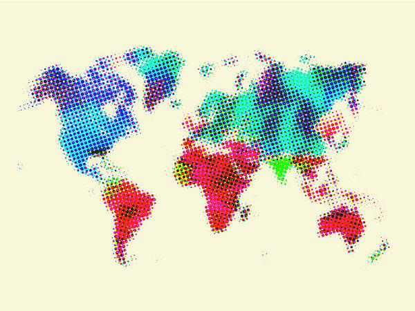Dotted World Map 2 Print by Naxart Studio