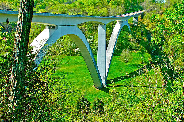 Double-arched Bridge Spanning Birdsong Hollow At Mile 438 Of Natchez Trace Parkway-tennessee Print by Ruth Hager