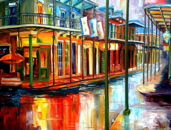 Downpour On Bourbon Street Print by Diane Millsap