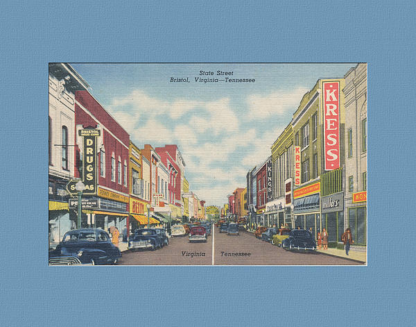 Downtown Bristol Va Tn 1940's Print by Denise Beverly
