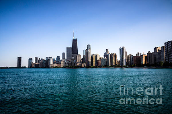 Downtown City Buildings In The Chicago Skyline Print by Paul Velgos