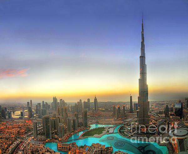 Downtown Dubai At Sunset Print by Lars Ruecker