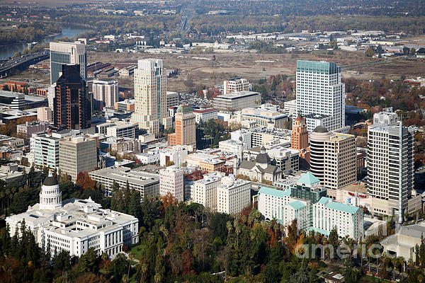 Downtown Sacramento And Capitol Park Print by Bill Cobb