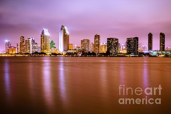 Downtown San Diego Skyline At Night Print by Paul Velgos