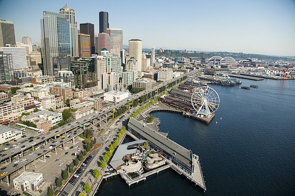 Downtown Skyline And Waterfront Seattle By Andrew
