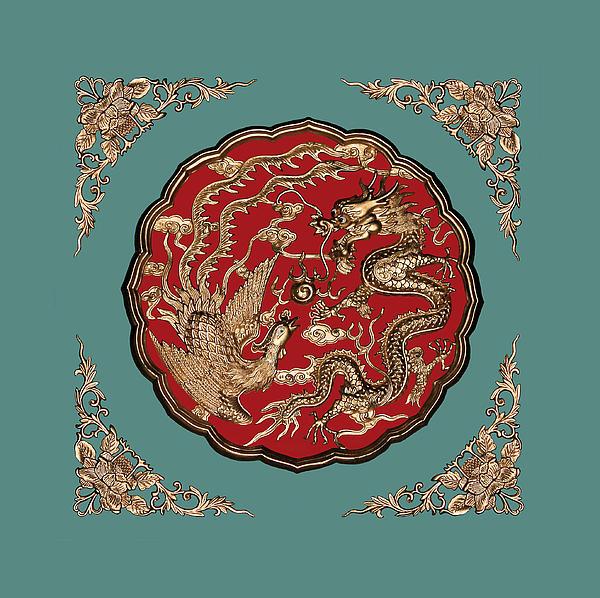 Dragon And Phoenix Print by Kristin Elmquist