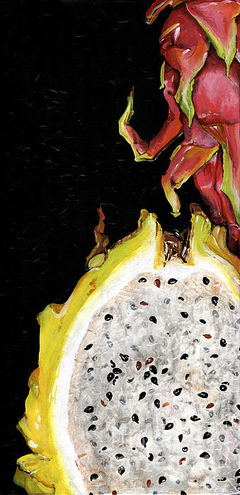 dragon fruit yellow and red Elena Yakubovich Print by Elena Yakubovich