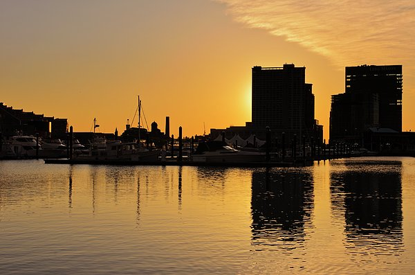 Marianne Campolongo - Dramatic Golden Sunrise Baltimore Inner Harbor