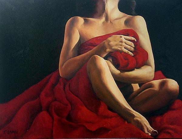 Draped In Red Print by Trisha Lambi