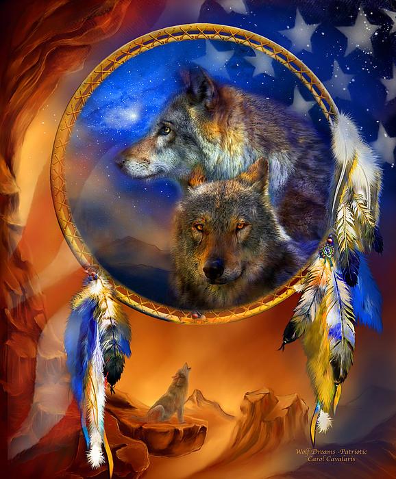 Dream Catcher - Wolf Dreams Patriotic Print by Carol Cavalaris