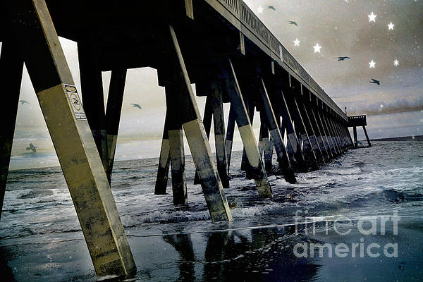 Dreamy Haunting Ocean Coastal Pier With Stars And Birds Print by Kathy Fornal