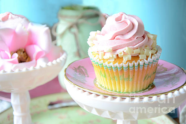 Dreamy Shabby Chic Cupcake Vintage Romantic Food And Floral Photography - Pink Teal Aqua Blue  Print by Kathy Fornal
