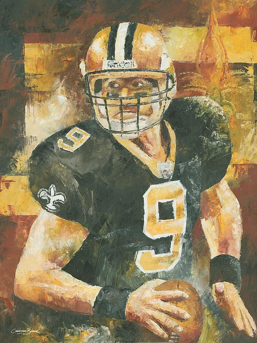 Drew Brees Print by Christiaan Bekker