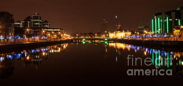 Dublin City At Night Print by Paul O Rourke