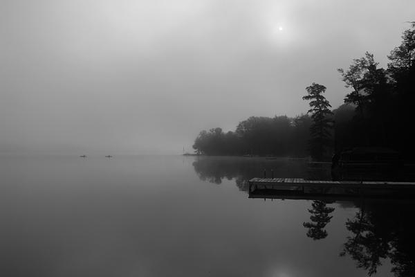 Duck Harbor Early Morning Fog Print by Patsy Zedar
