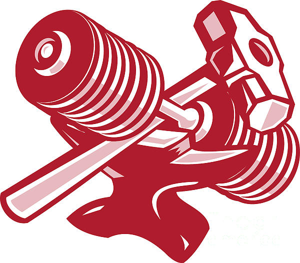 Dumbbell Anvil And Sledgehammer Retro Print by Aloysius Patrimonio