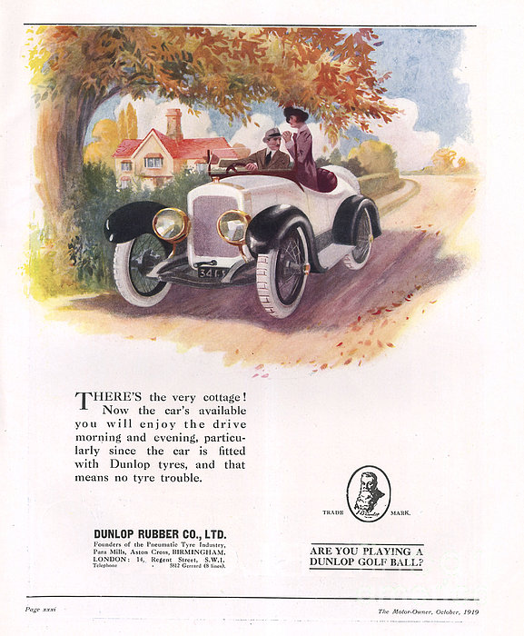 Dunlop 1919 1910s Uk Cars Tyres Print by The Advertising Archives