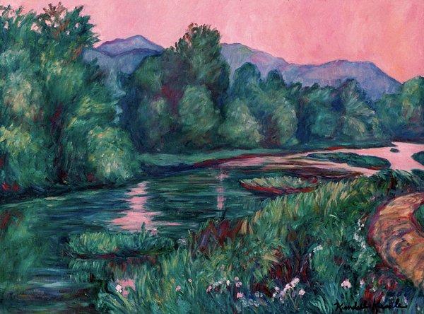 Dusk On The Little River Print by Kendall Kessler