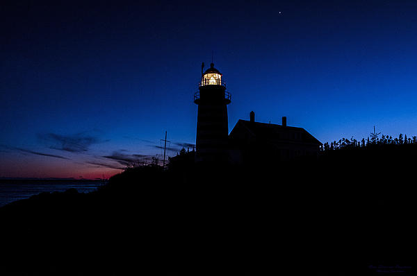 Dusk Silhouette At West Quoddy Head Lighthouse Print by Marty Saccone
