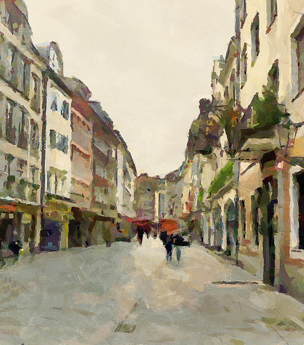 Dusseldorf Old Town Street 2 Print by Yury Malkov
