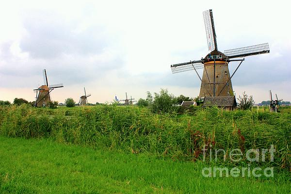 Dutch Landscape With Windmills Print by Carol Groenen