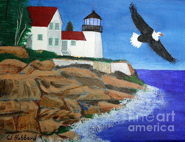 Eagle Isle Light In Casco Bay Maine Print by Bill Hubbard