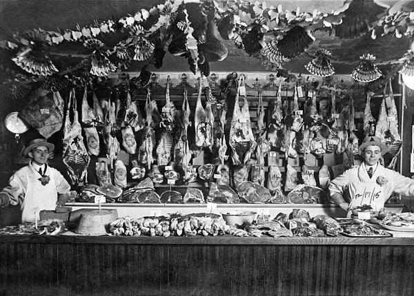 Early Butcher Shop Print by Underwood Archives