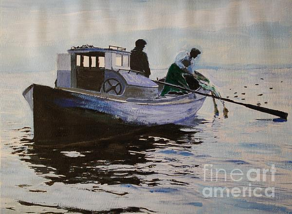 Early Gillnetter At Work Print by Bill Hubbard