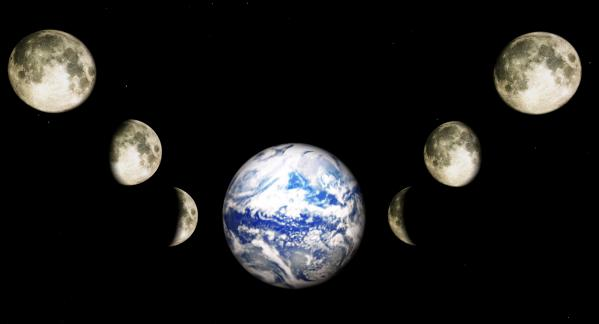 Earth And Phases Of The Moon Print by Bob Orsillo