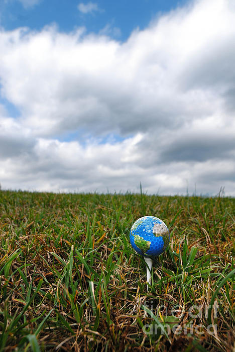 Earth Golf Ball On Tee Print by Amy Cicconi